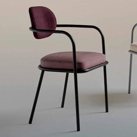 Silla de diseño vintage con reposabrazos en acero y tela de colores - Ula