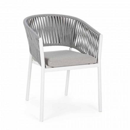 Silla de exterior con reposabrazos en aluminio blanco y gris Homemotion - Rubio