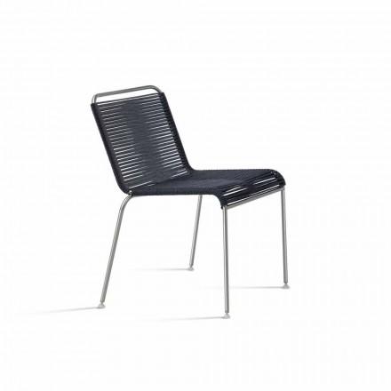 Silla de diseño para exteriores en acero y cordón negro Made in Italy - Madagascar1