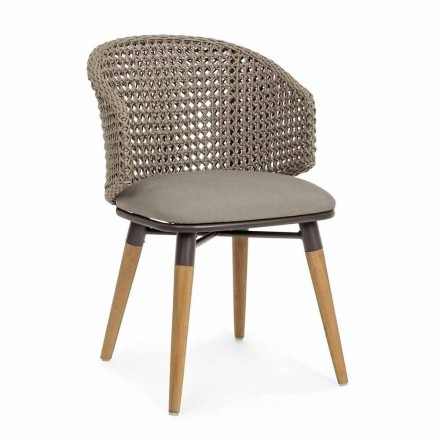 Silla de exterior Tortora de madera, aluminio y tela Homemotion - Luana