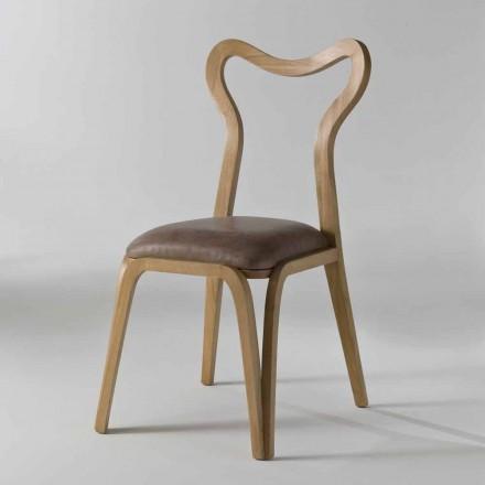 Silla de comedor de diseño moderno en madera y cuero, l.41xp.46 cm, Carol