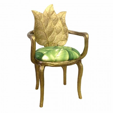 Silla de comedor tapizada en oro con diseño moderno, fabricada en Italia, Daniel