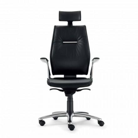 silla de oficina ergonómica en el tipo de piel de vacuno del grano Ines