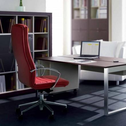 silla de oficina en madera de haya tapizado en piel de vaca tipo de flor Debora