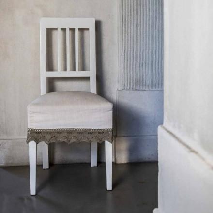 Silla de cocina de diseño en madera de haya lacada blanca, Shirley, 2 piezas
