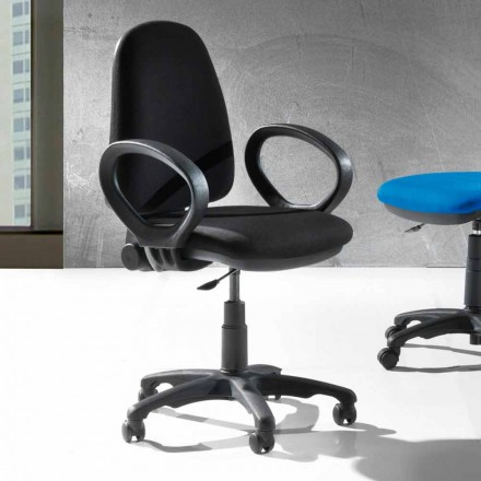 Silla ergonómica moderna de oficina giratoria en cuero ecológico o tejido - Calogera
