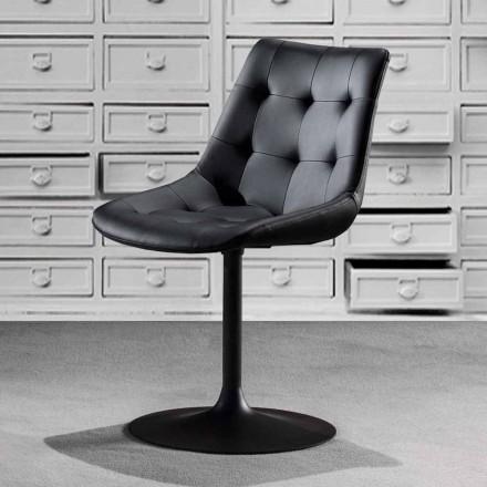 Silla giratoria, asiento de cuero ecológico con mechones de trabajo - Aura