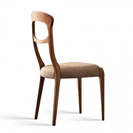 Silla moderna en nogal canaletto macizo y asiento tapizado, Gemma