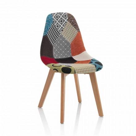 Silla moderna de tela patchwork con patas de madera, 4 piezas - Selena