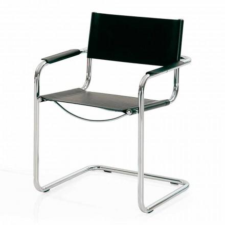 Silla para sala de reuniones en cuero negro y metal - Cirillo