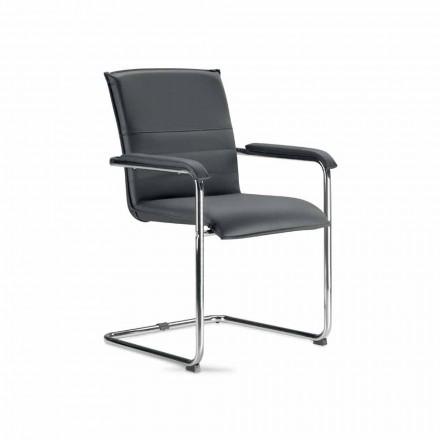 Silla para sala de reuniones o sala de conferencias en piel sintética negra y metálica, 2 piezas - Oberon