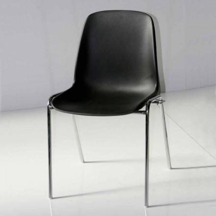 Silla para sala de reuniones o sala de conferencias moderna en metal y ABS negro - Zetica