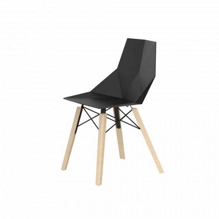 Sillas para sala de estar o cocina de polipropileno y madera - Faz Wood by Vondom