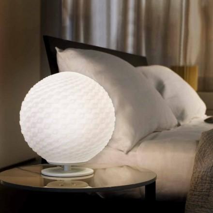 Selene Domino de lámpara de mesa de blanco de cristal soplado O27 H 30cm