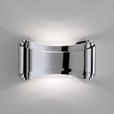 lámpara Selene Ionic pared hecha en Italia, 30x10 H16cm, vidrio y acero