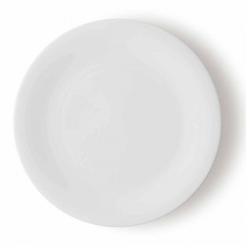 24 platos llanos elegantes en diseño de porcelana blanca - Doriana