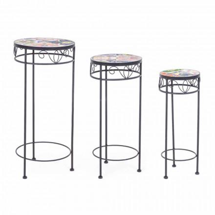 3 Mesas redondas de acero para exteriores con diseños decorativos - Encantador