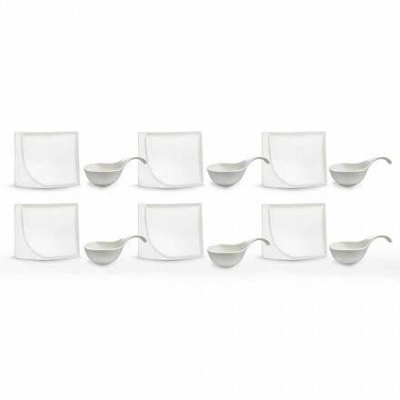 Servicio de aperitivo 12 piezas Placas modernas de diseño de porcelana blanca - Nalah