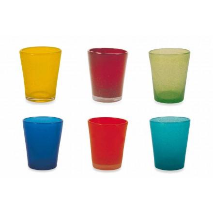 Servicio de vasos de agua 6 piezas de vidrio soplado y coloreado - Yucatan Folk