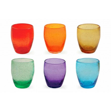 Servicio de vaso de agua en vidrio coloreado y moderno 6 piezas - Guerrero