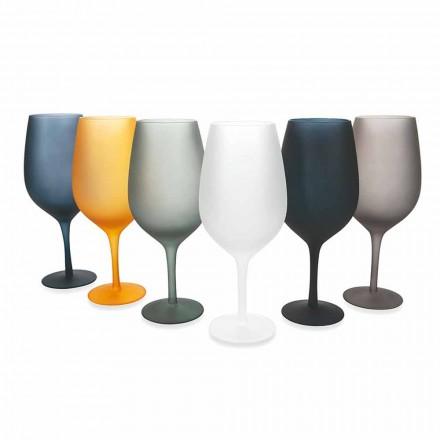 Juego de copa de vino tinto o blanco en vidrio coloreado, 12 piezas - Borde