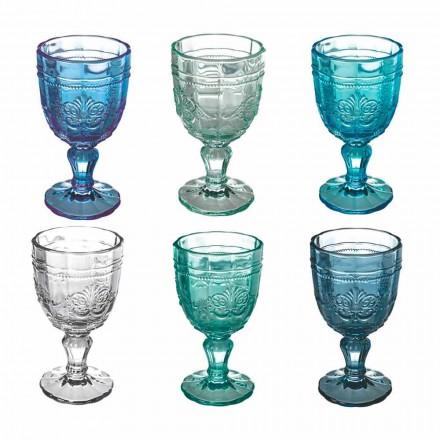 Juego de Copa de Vino de Color en Vidrio y Decoración de Estilo Oriental 12 Piezas - Tornillo