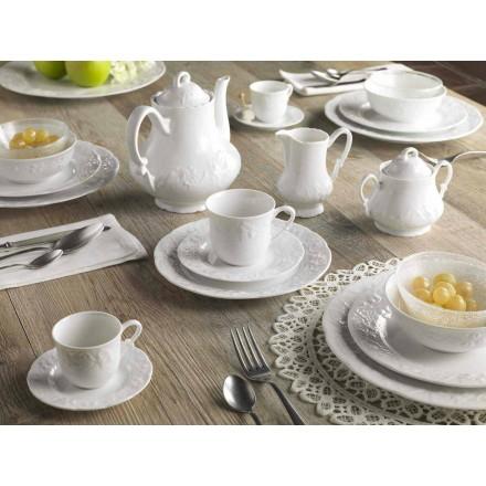 Servicio Completo de Desayuno 22 Piezas en Porcelana Blanca - Gimignano