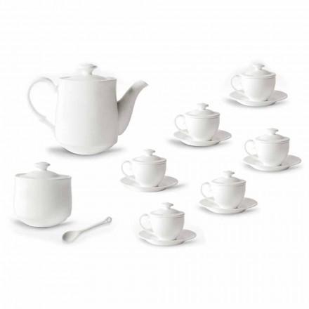 Servicio Completo de Tazas de Café 21 Piezas en Porcelana Blanca - Samantha