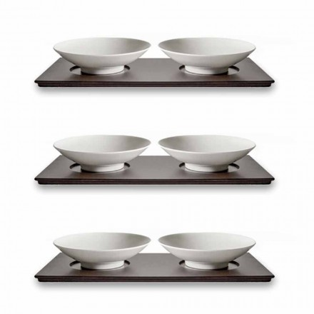 Servicio de Tazas Pequeñas con Bandeja de Madera Diseño Moderno Elegante 9 Piezas - Flavia
