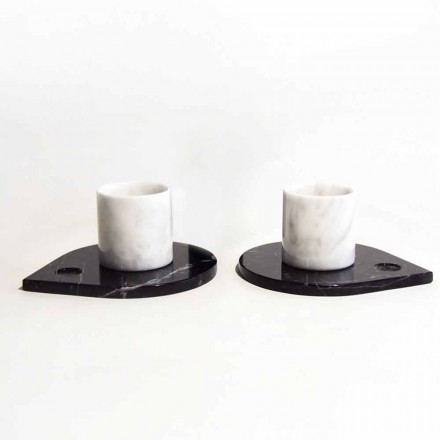 Servicio de café en mármol de Carrara y Marquinia moderna Made in Italy - Garda