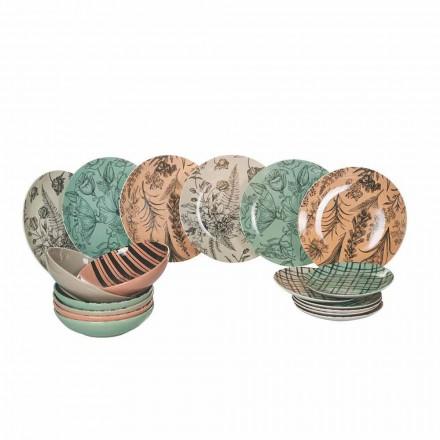 Vajilla completa para servicio de mesa en porcelana de colores 18 piezas - Ballet