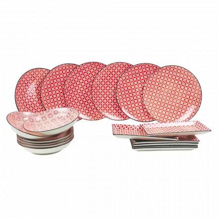 Servicio completo de mesa Placas rojas en gres moderno 18 piezas - Cochinilla