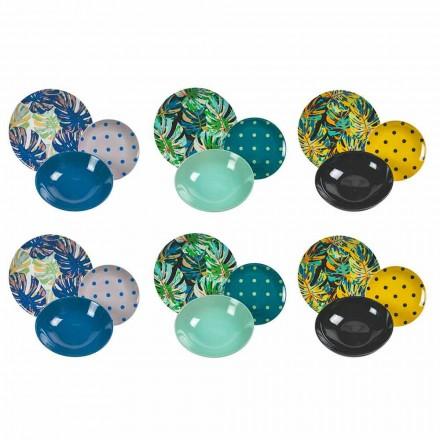 Servicio de Mesa de Porcelana y Gres Platos de Colores 18 Piezas - Riodeja