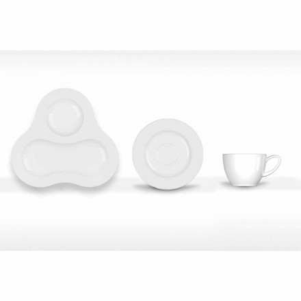 Juego de Té Completo de Diseño Moderno en Porcelana Blanca 14 Piezas - Telescopio