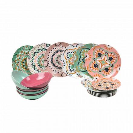 Juego de vajilla de colores en porcelana 18 piezas - Playasol