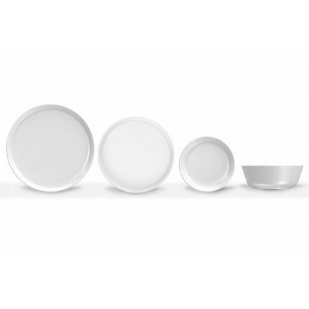 Vajilla de porcelana blanca de diseño moderno 24 piezas - Ártico