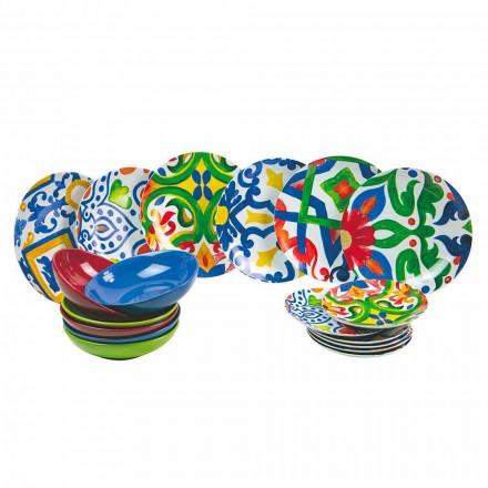 Juego de Platos Modernos y Coloreados en Gres y Porcelana 18 Piezas - Ciclade