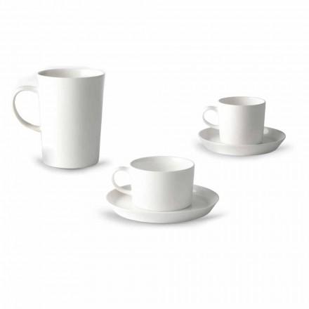 Servicio de taza de café, té y desayuno 30 piezas en porcelana blanca - Egle