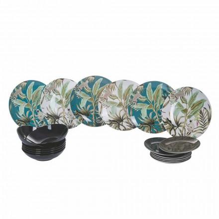 Servicio de vajilla moderna de 18 piezas de porcelana y gres de colores - Antananarivo