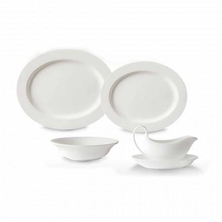 Juego de platos de servicio de 4 piezas en porcelana de diseño blanca - Samantha