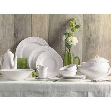 Juego de 27 elegantes platos de diseño de porcelana blanca - Gimignano