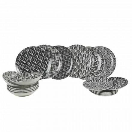 Vajilla Completa en Porcelana Decorada y Moderna 18 Piezas - Stilotto