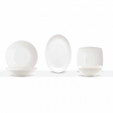 Platos para servir 3 piezas de diseño moderno en porcelana blanca - Málaga