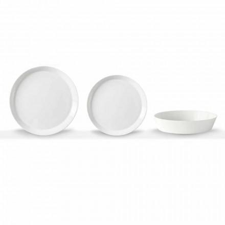 Juego de platos para cena de 18 piezas de porcelana blanca de diseño elegante - Egle