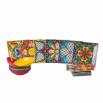 Servicio de Plato Llano de Color Porcelana y Gres 18 Piezas - Aztecas