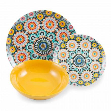 Set de platos étnicos de colores, porcelana y gres 18 Mad - Marruecos