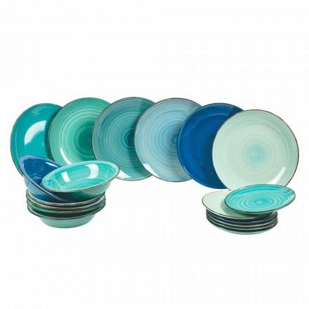 Juego de vajilla en gres moderno y coloreado, completo 18 piezas - Pelagos
