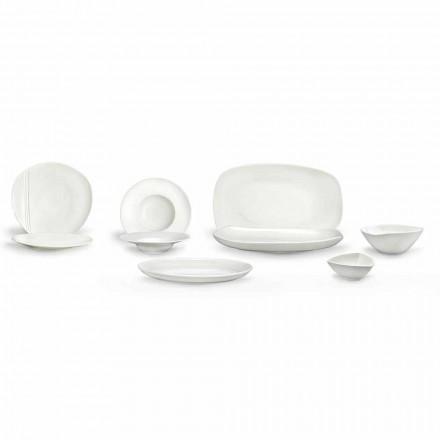 Vajilla de porcelana blanca con 23 piezas de diseño moderno y elegante - Nalah