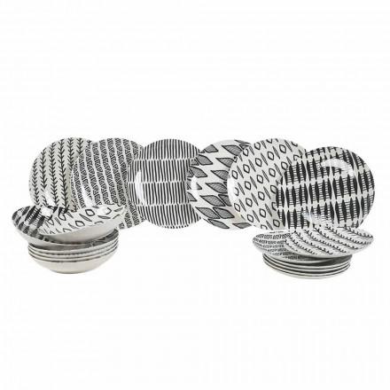 Juego de vajilla de porcelana en blanco y negro de diseño elegante, 18 piezas - Tanzania