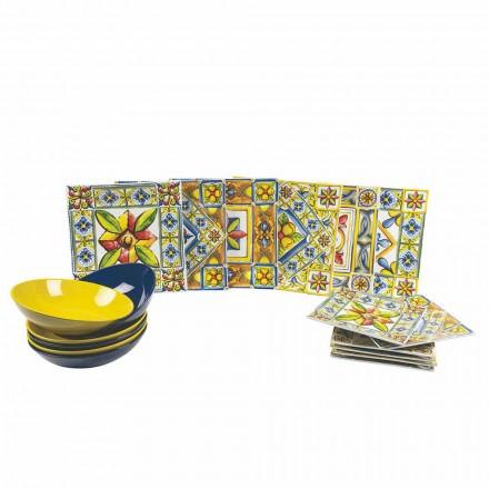 Conjunto de platos cuadrados de colores modernos en porcelana 18 piezas - Verano